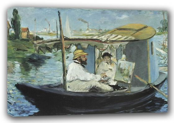 Manet, Edouard: Monet in his Floating Studio Boat. Fine Art Canvas. Sizes: A3/A2/A1 (00684)